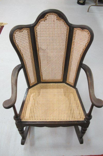Vintage cane rocking chair - Vintage Wing Back Cane Rocking Chair