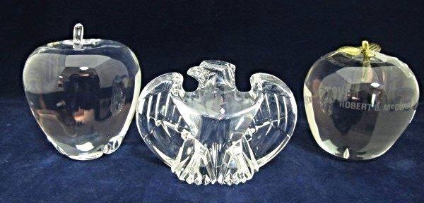 Steuben Glass Apple Paperweight, Cartier Crystal Apple