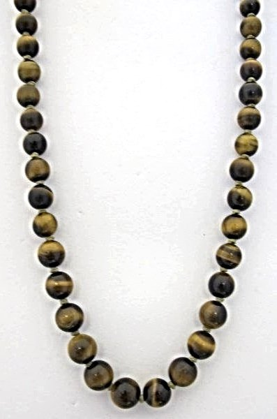 "24"" Tigers Eye Beaded Necklace with Sterling Clasp"