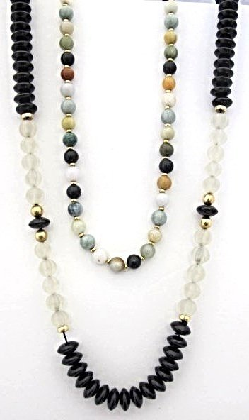 "34"" Onyx & Crystal Necklace and 20"" Multi Stone Beaded"