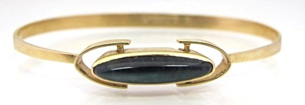 "14K Yellow Gold Black Opal Bangle Bracelet, 2 1/2""x2"","