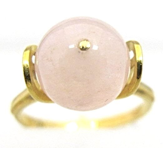 18K Yellow Gold Rose Quartz Ring, Stamped 750, Size 6
