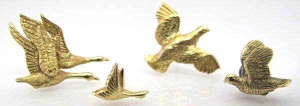 Four 14K Yellow Gold Quail & Duck Tie Tacks