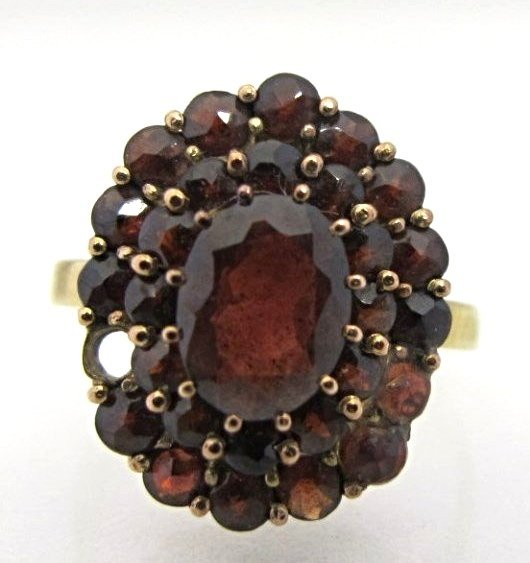 Antique 10K Yellow Gold Garnet Cocktail Ring (missing 1