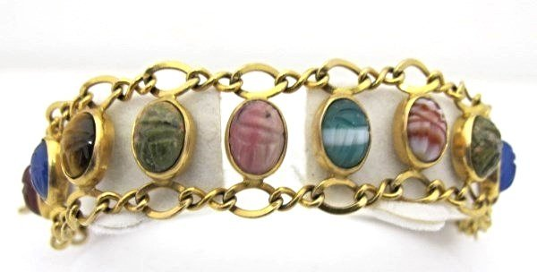 Vintage 14K Yellow Gold Egyptian Revival Bracelet