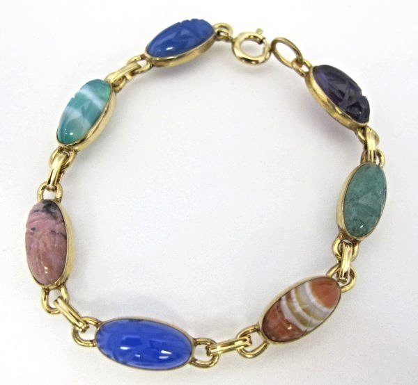 14K Gold Filled Scarab Bracelet, Stamped WRE,  The