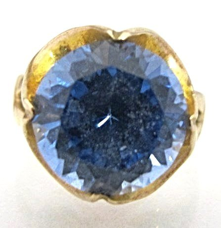 14K Yellow Gold Blue Spinel Ring, Size 6, 3.52dwt