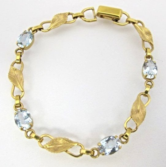 14K Yellow Gold Van Dell Blue Topaz Bracelet Containing