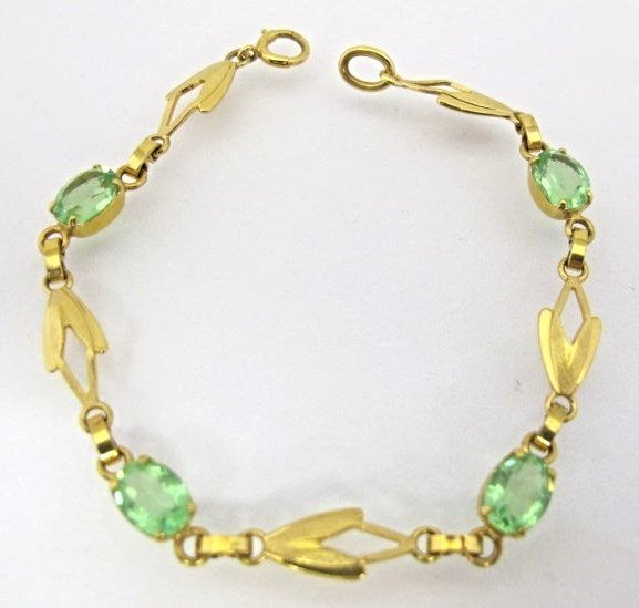 14K Yellow Gold & Green Stone Bracelet, 4.12dwt