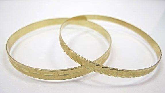 "Two (2) 14K Yellow Gold Bangles 2 1/2"" diameter"