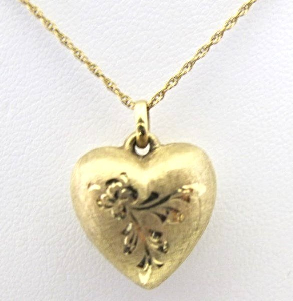 14K Yellow Gold Heart Necklace, 1.96dwt