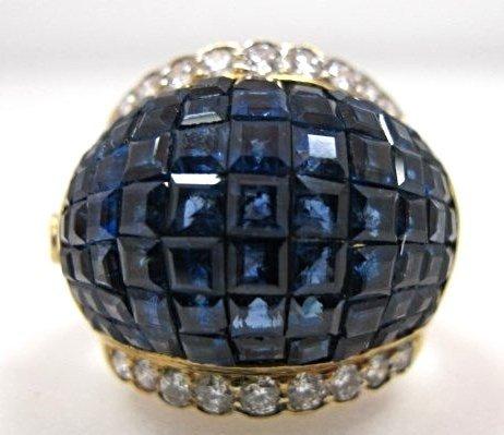 18K Yellow Gold Invisible Set Sapphire & Diamond Ring