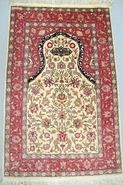 Very Fine Silk and Gold Thread Turkish Hereke 2.1x3.3,
