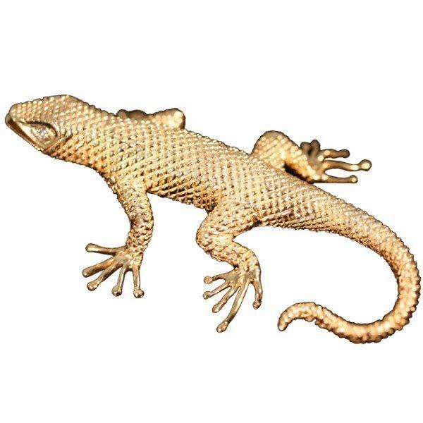 Signed Dankner 14K Yellow Gold and Diamond Salamander