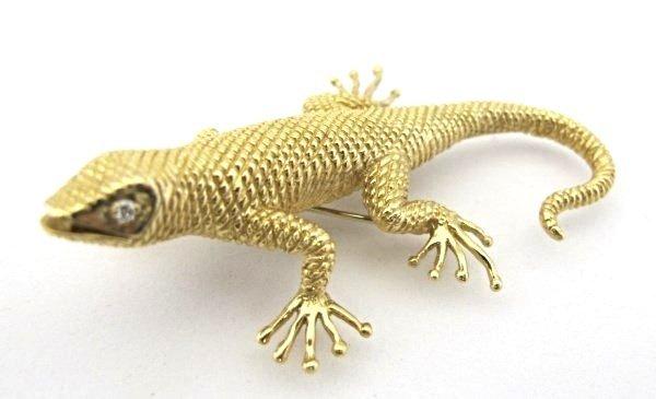 Signed Dankner 14K Yellow Gold and Diamond Salamander - 2