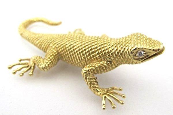 Signed Dankner 14K Yellow Gold and Diamond Salamander - 3