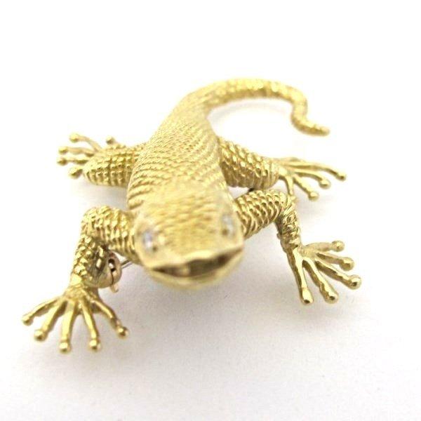 Signed Dankner 14K Yellow Gold and Diamond Salamander - 4
