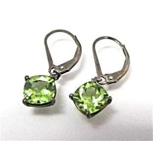 Sterling Silver & Peridot Drop Earrings