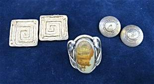 2 Pairs of Sterling Earrings and Sterling Ring