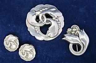 Georg Jensen Denmark Sterling Brooch and Earring Set