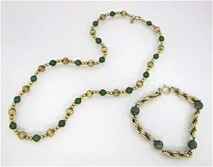 12K Gold Filled and Jade Bead Necklace & Bracelet