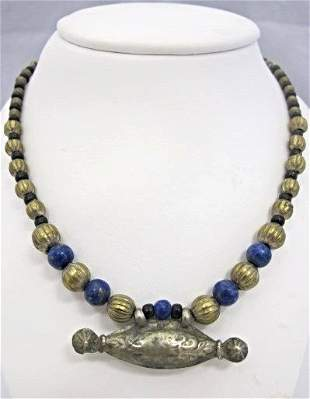 Sterling Silver & Lapis Bead Necklace