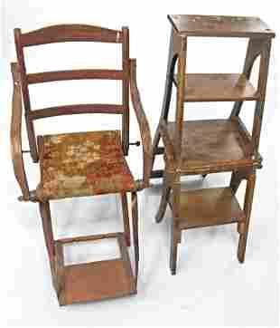 """Civil War Era """"Camp Chair"""" & Library Fold Chair/Ladder"""