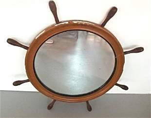 "Antique Mahogany Ships Wheel Mirror, 29 1/2"" Diameter"