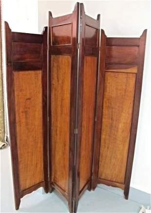Vintage Four Panel Wooden Folding Screen