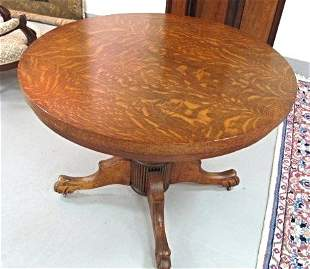 Antique Victorian Oak Round Extension Dining Table