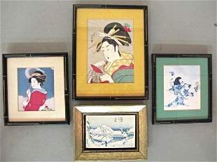 Four (4) Assorted Asian Framed Watercolors