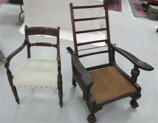 - Antique Morris Oak Claw Foot Reclining Chair, No