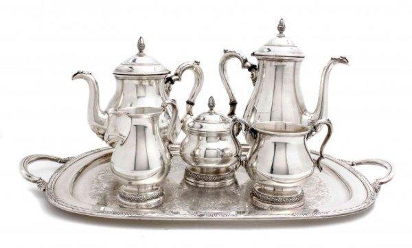 "Five-Piece International ""Prelude"" Sterling Silver Tea"