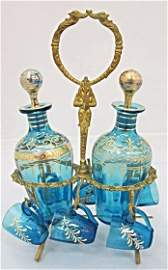 Pair Miniature Aqua Blue Decanters with 6 Miniature