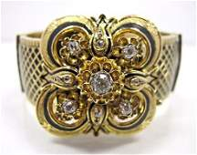 French Victorian 18K Yellow Gold and Black Enamel