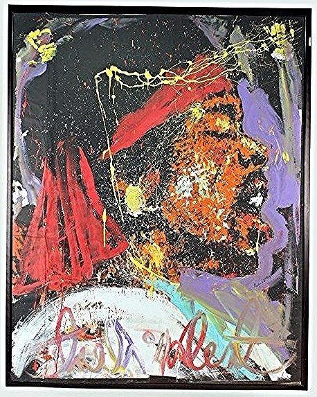 "Jimi Hendrix by Denny Dent, Acrylic on Paper 77""x60"""