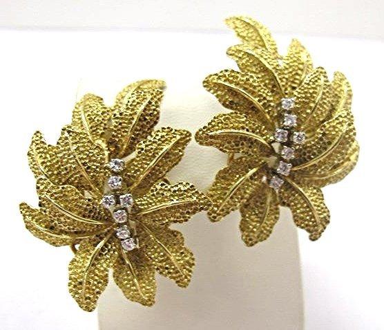 Pair of Vintage 18K Gold & Diamond Floral Clip Earrings