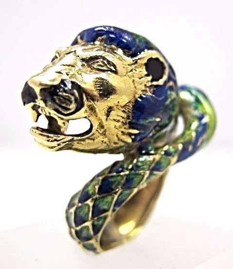 18K Yellow Gold Italian Enamel Lion Ring, Size 6,