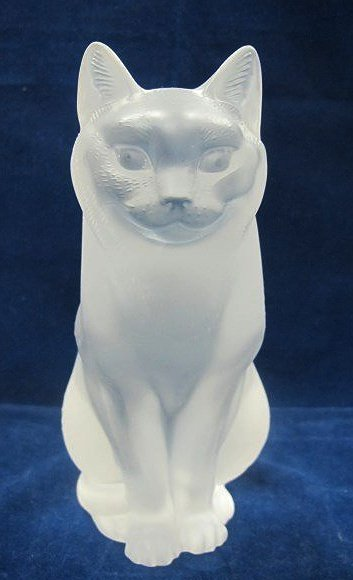 """French Lalique """"Chat Assis"""" frosted crystal figure of a"""