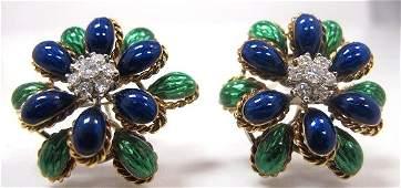 Vintage 18K Yellow Gold Enamel & Diamond Earrings