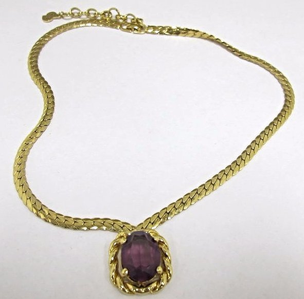 Christian Dior Faux Amethyst Choker Length Necklace