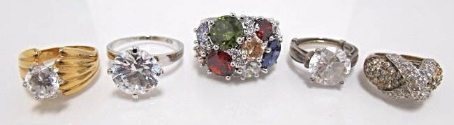 Five (5) Cubic Zirconia Rings, 3 Rings are Sterling