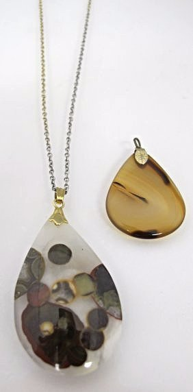 2 Drop Pendants, One on Gold Tone Chain