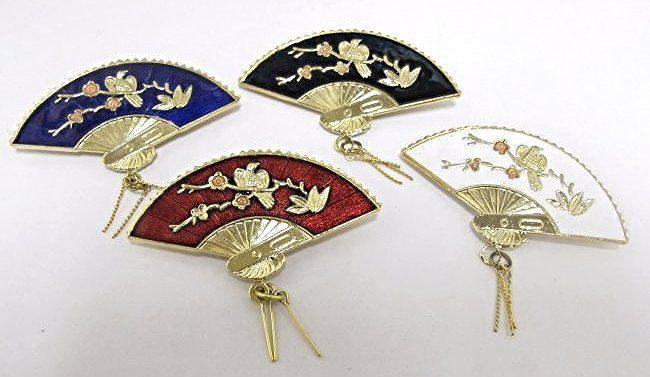 Four (4) Chinese Gold Tone Cloisonne Fan Pins