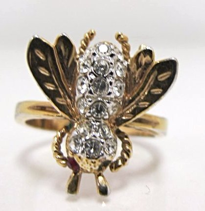 18K Gold Filled Bee Ring, Size 8 3/4