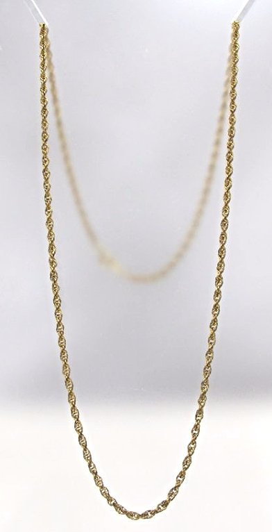 "12"" Yellow Gold 24"" Rope Chain, 6.51grams"