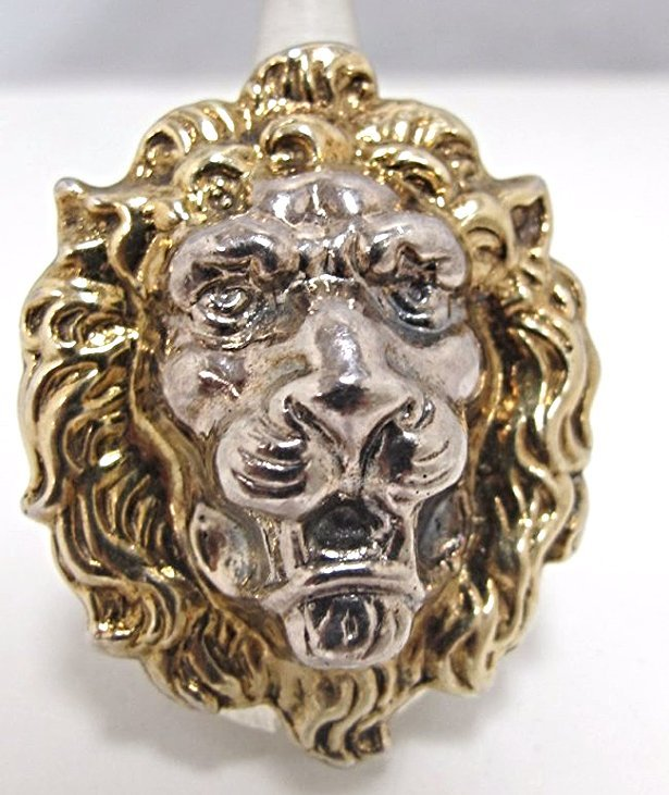Possibly Silver or Silver Tone Adjustable Lion Ring