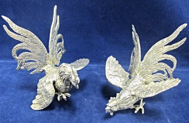 Pair of Silver Plated Small Fighting Cocks by Roberto