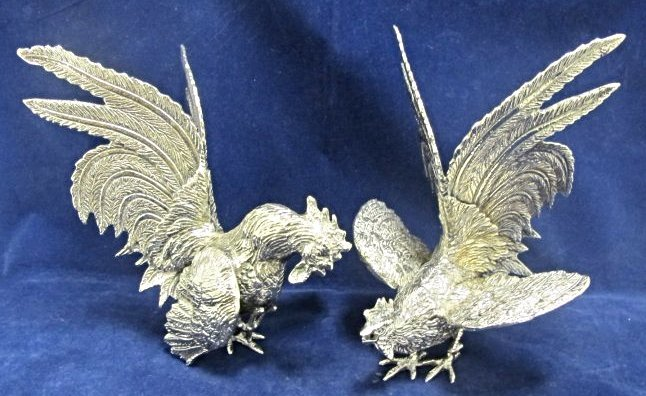Pair of Silver Plated Large Fighting Cocks by Roberto