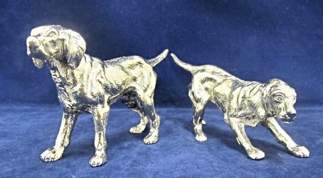 Pair of Silver Plated Dogs by Roberto Rossi, Italy